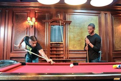 At the pool hall downtown, late night, Jin Powers and Krave Moore have a score to settle.  They