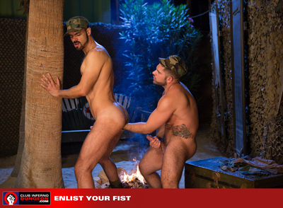 Dolan Wolf and Alessandro have been assigned the night spot at the compound. As soon as everyone is asleep the military studs undress out of their uniforms and get down to business. Gathered men stroke their big cocks while Dolan turns over and instigates