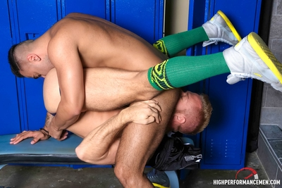 HighPerformanceMen.com implies Christopher Daniels and porn newcomer Rikk York in FEET, SOCKS & JOCKS! Christopher and Rikk are in the locker room after their workouts and it does not take long for them to realize they both have the same appealing dreams