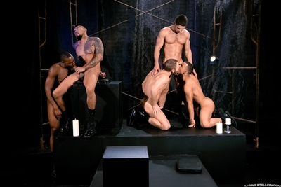 The air is saturated with pheromones, with exclusively candles to clench ago the dark. Boomer Banks lies in a large white circle inscribed on the floor, his head and feet touching the edges. His huge cock, dead center, points skyward. Shawn Wolfe, Trelino