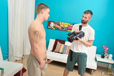 Our casting daybed is ready for action and we have found a wild adolescent beginner by the name of Trent Ferris and that guy is smooth and tasty. Mason who is directing the casting tells him to show off that shaved body so we can gaze at all the goods. Ma