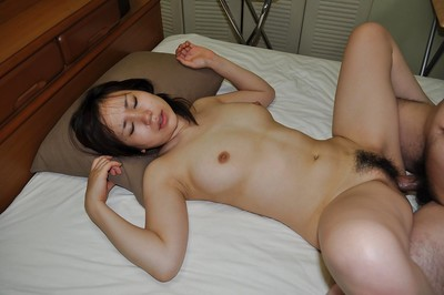 Lusty eastern adolescent Satsuki Okuno gives head and benefits from her shaggy love-cage cocked up