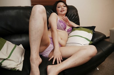 Chinese mommy Mika Aoto undresses off pink underclothes to jerk off bushy twat