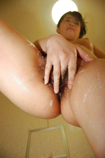 Immensely small eastern adolescent Masako Kosaka fascinating baths and caressing she