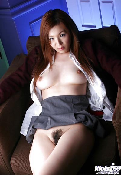 Spectacular Japanese schoolgirl Mai Hanano erotic dance off her uniform