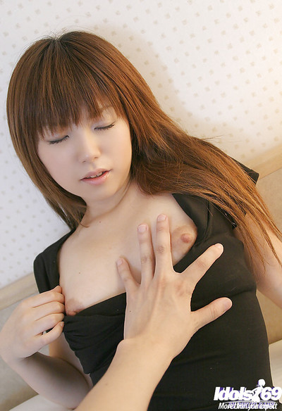 Lewd oriental juvenile cutie in cylinder erotic dance off her clothing