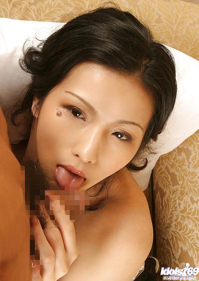 Enchanting Japanese vixen Chinami Sakaisaki gives head and acquires slammed