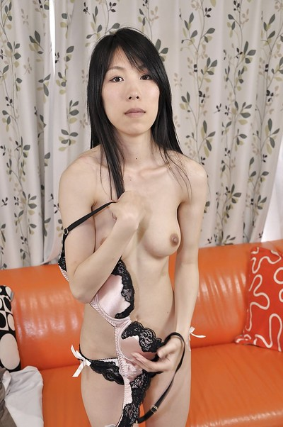 Slippy eastern MILF Yuko Mukai erotic dancing down and toying her curly gash