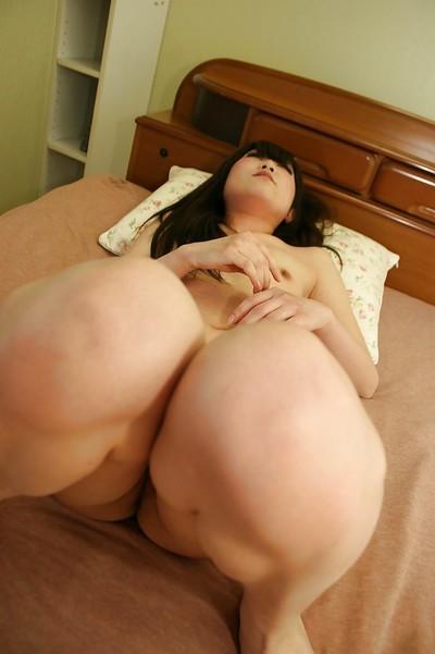 Japanese adolescent Maki Hagita sucks a biggest weenie and purchases her twat fingered