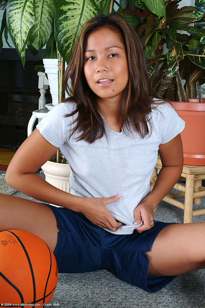 Sporty youthful revealing miniature apples and hairless Eastern cage of love below panties