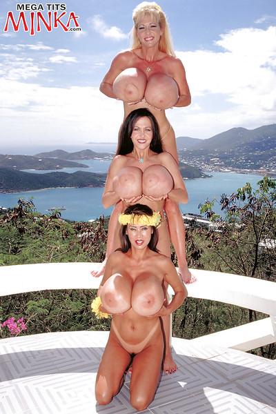 Chesty lesbian cuties Minka, Maxi Bra buddies and Casey James flaunt enormous scones outside
