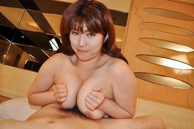 Juggy oriental MILF Kumi Shibahara gives a titjob and acquires her bushy cum-hole nailed