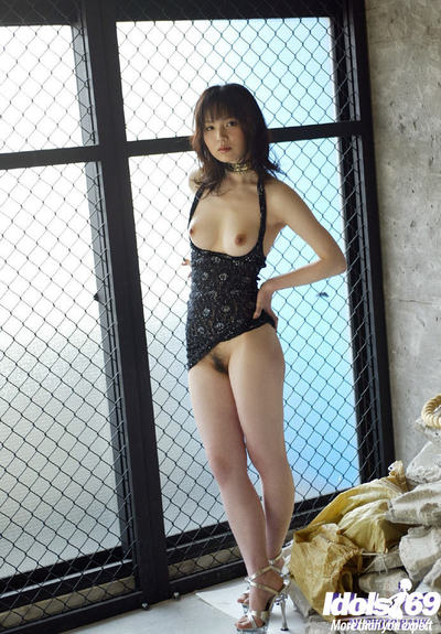 Appealing oriental doll with compact scones has no sexy pants lower than her clothing