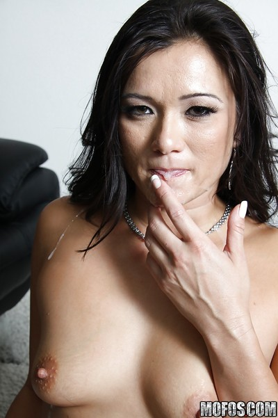 Chinese MILF Cece Stone gains her snatch licked and screwed by a swarthy male