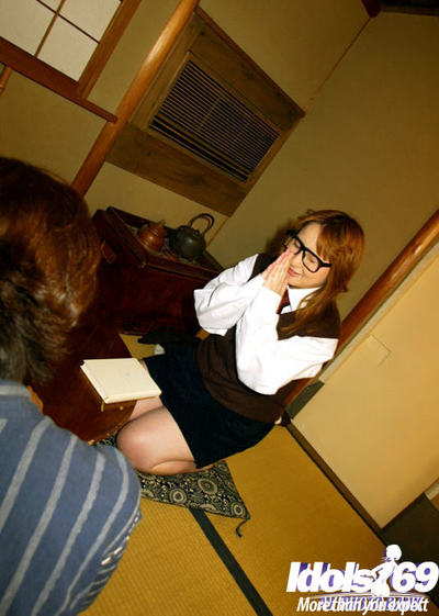 Japanese gal in glasses Yamazaki Akari gives head and puts into by her mammoth pointer sisters