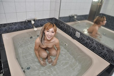 Diminutive eastern infant with curly cooter Saki Oshiro jolly bathroom and baths