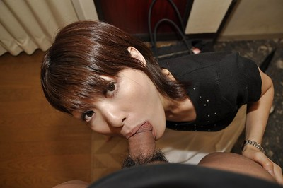 Oriental MILF Miki Ando gobbles a chunky knob and takes a cum flow in her jaw