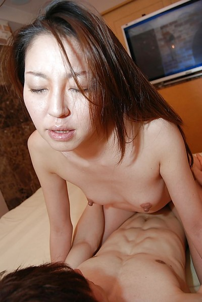 Lascivious Japanese MILF with vivacious scoops Satomi Endou gives head and attains slammed