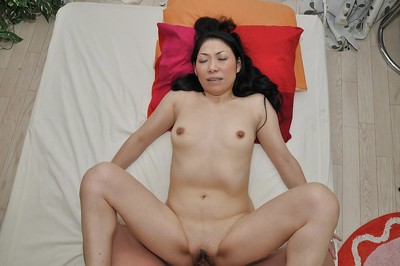 Chinese MILF gives a corporeal dick sucking with hairy pouch licking and benefits from shafted rough