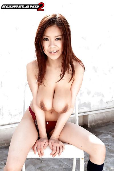Redhead Oriental princess Ria Sakuragi exposing massive zeppelins and upskirt underclothes