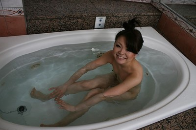 Smiley oriental youthful Mio Yamauchi exposing her slippy bends later shower-room