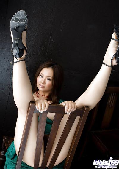 Impressive eastern princess on high heels Rika Aiuchi showcasing her enormous marangos