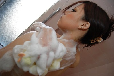 Adolescent oriental playgirl with curly cum-hole Mayu Matsukawa engaging shower-room