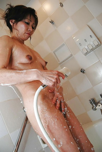 Chinese MILF with shaggy cum-hole and insignificant breasts Mayumi Miyazaki delightful bath