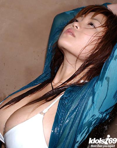 Wild Chinese darling with largest milk cans Yoko Matsugane grand washroom in bikini