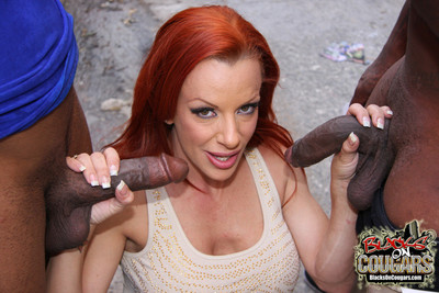 Redhead cougar milf does interracial dp comestibles cum