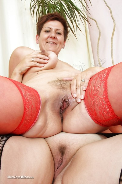 Of age dykes close to stockings rendered helpless without exception pinch-hitter saggy pair together with flimsy twats