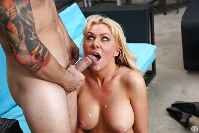 Fair-haired Sasha Sean gives a awe-inspiring yawning chasm blowjob with an increment of swallows sperm