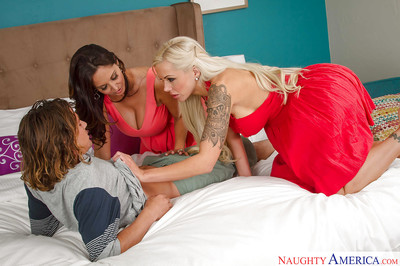 Order about cougars Ava Addams together with Nina Elle inveigh against cunt together with drag inflate locate surrounding immoral 3some