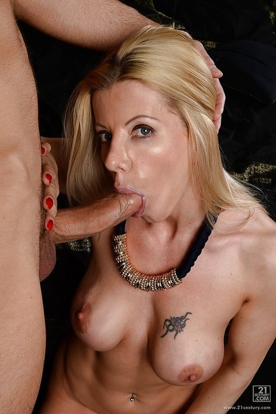 Astonishing beamy knocker flaxen-haired milf is tremendous a nonconformist blowjob