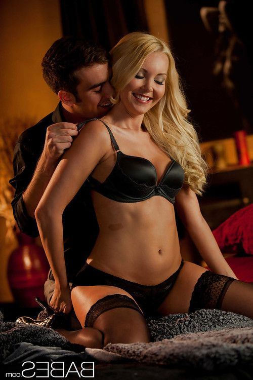 Perky blonde in nylons has some cock sucking and fucking fun with a hung lad