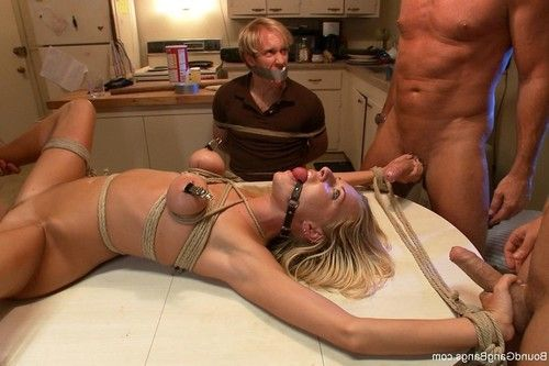 Sexy babe gets tied up, punished and fucked by group of guys