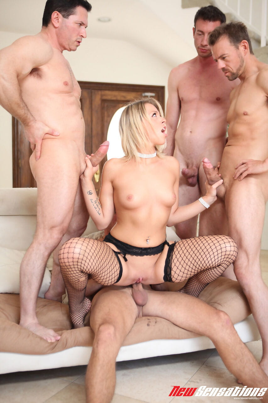 Blonde chick Zoey Monroe gets gangbanged by white men in fishnet stockings
