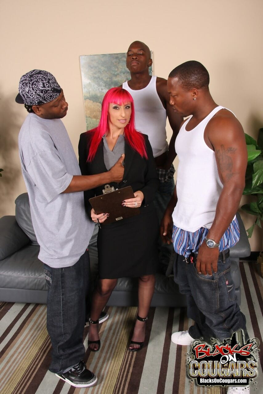 Pink haired lawyer Raven Black collects BBC jizz payment in interracial 3 on 1