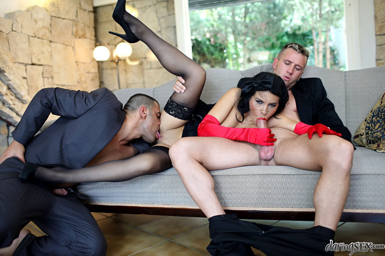 Stocking and fetish garbed brunette pornstar taking DP during MMF threesome