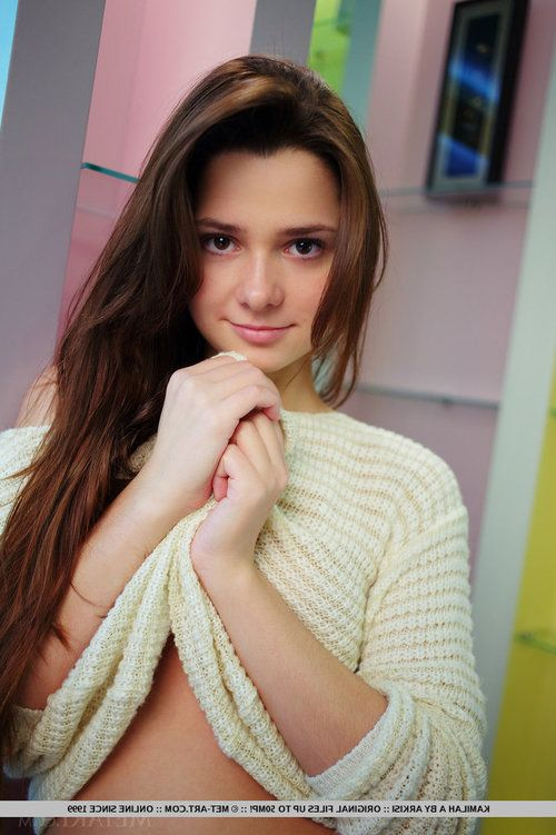 Lusty young brunette Kamilah pulls up her sweater to unveil her pussy