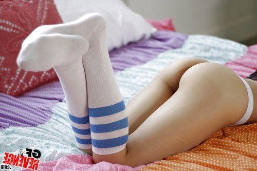 Short haired girlfriend Stephanie Carter flashing ass cheeks in knee socks