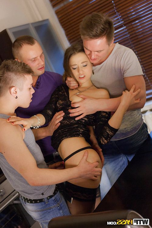 Threesome sex scene with two man and hot girl Taissia Shanti