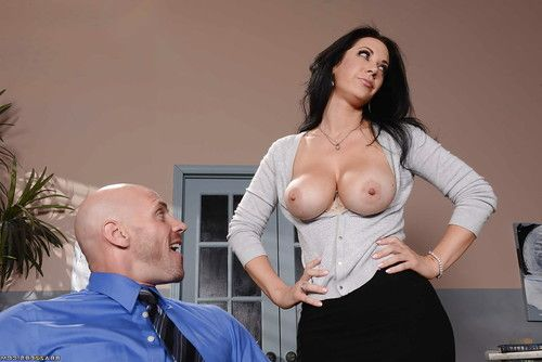 Busty office worker Jayden Jaymes pinching own nipples while seducing mate