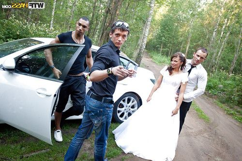 Promiscuous bride enjoys a hardcore foursome with well-hung guys outdoor