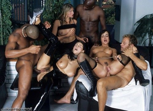 Kinky brunettes with big tits are into hardcore groupsex with horny guys