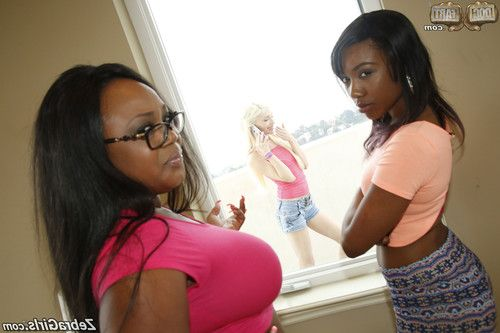 Lesbian interracial threesome sex