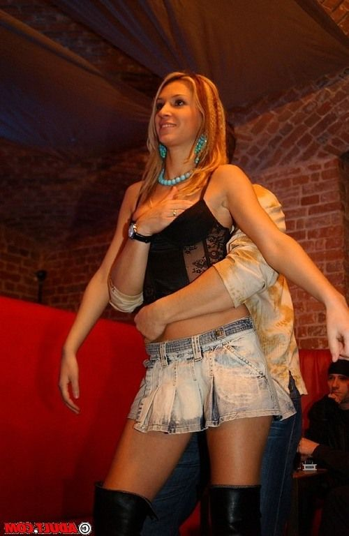 Lascivious girls in sexy outfits getting naughty at the drunk party