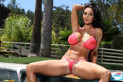 Voluptuous ava addams popping out of her sheer coral micro bikini