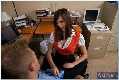 Naughty office babe Holly Michaels gets her shaved cunt nailed hardcore