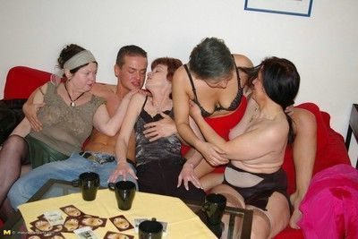 Drunk mature orgy with loads of wet old pussies